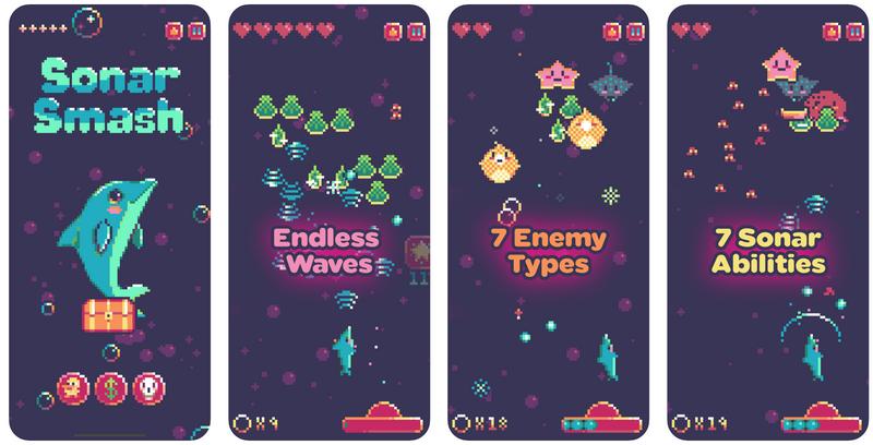 """Illustration : """"Sonar Smash"""", un jeu en pixel art sans poney mais avec un dauphin [précommande]"""