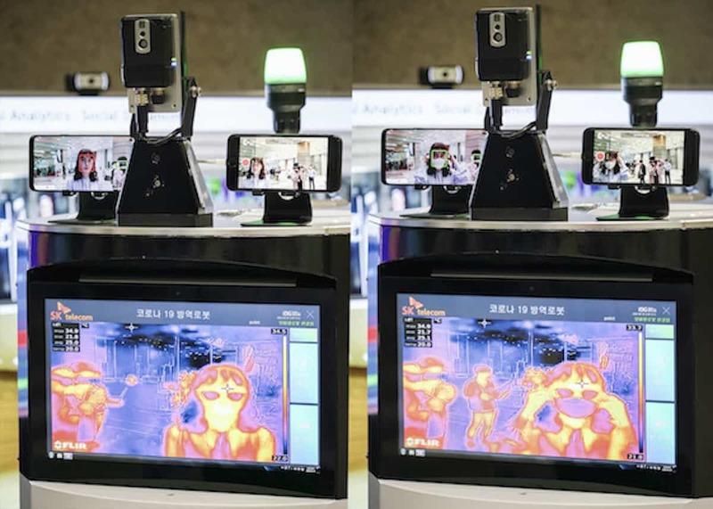 Illustration : Insolite : un robot autonome 5G s'occupe de l'accueil des travailleurs coréens #covid-19