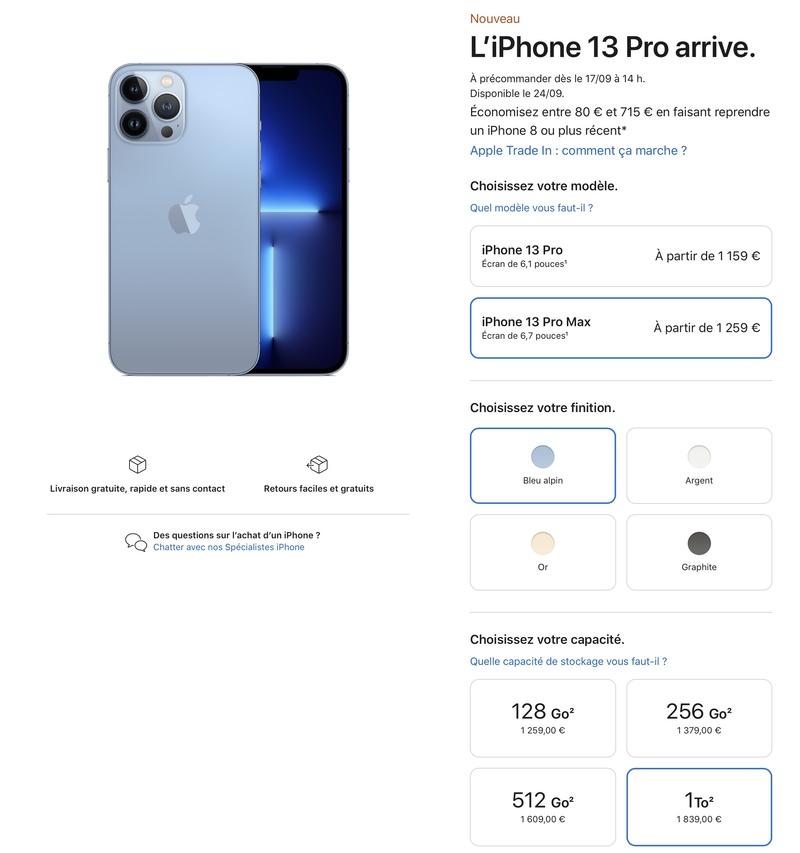 Illustration : Quel tarif pour l'iPhone 13 Pro Max 1To ? (Indice : moins de 2000€ !) + sondage