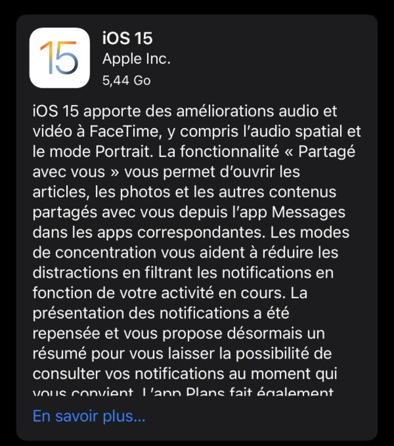 Illustration : Les versions finales d'iOS/iPadOS/tvOS15 et watchOS 8 sont disponibles