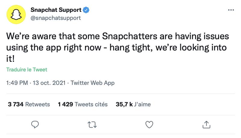 Illustration : Snapchat est aussi en panne !