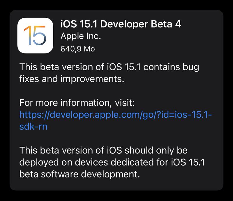Illustration : Une bêta 4 pour iOS/iPadOS/tvOS 15.1/watchOS 8.1 et une bêta 10 pour Monterey