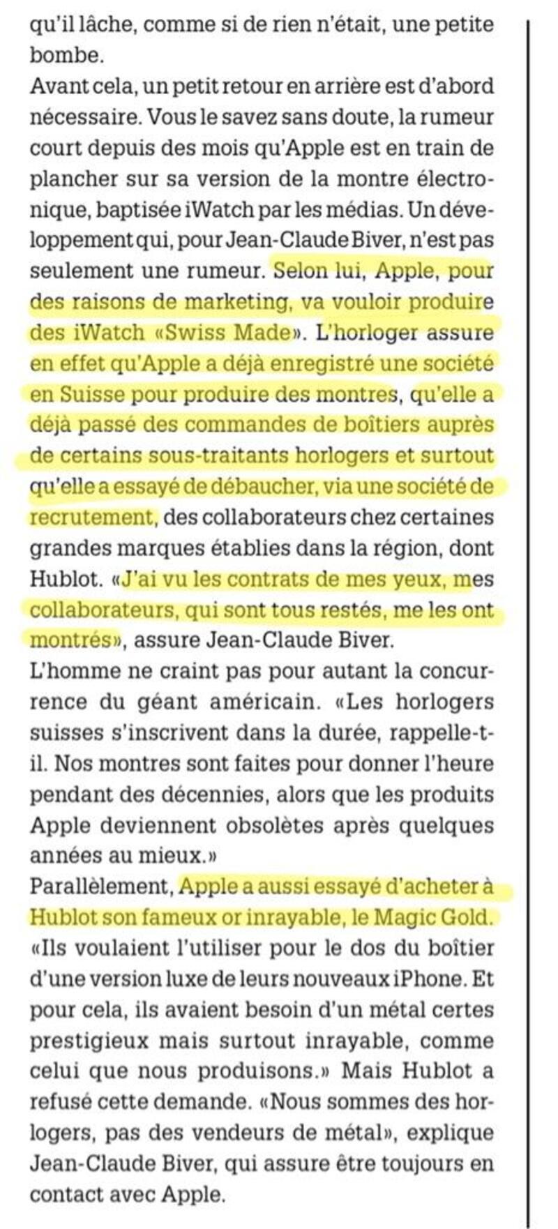 Illustration : Apple ferait ses courses en Suisse pour son iWatch, notamment chez Hublot