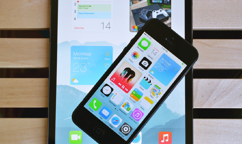 Illustration : Un étonnant concept d'iOS 8, avec des widgets dynamiques au milieu des icônes