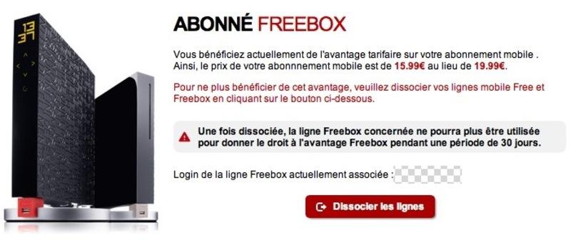 Illustration : Free Mobile : on peut dissocier un avantage freebox et le transmettre